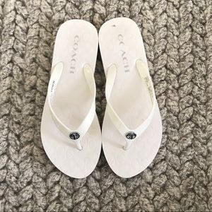 Almost New White COACH Flip Flops!